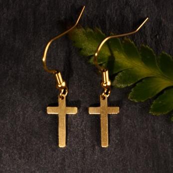 Visací ocelové náušnice Křížky Gold
