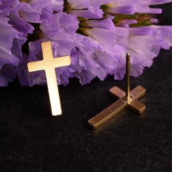 Ocelové náušnice pecky Křížky Gold