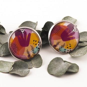 Velké náušnice pecky Epoxy - fialové - Kočka Stojící