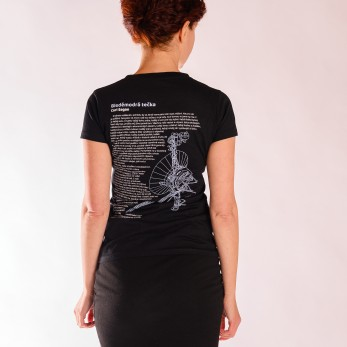 Dámské tričko černé - Bleděmodrá tečka