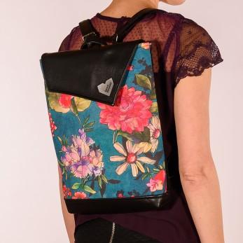 Batoh ZEN černý - Malované květy