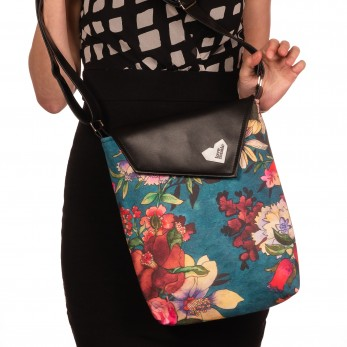 Dámská kabelka Dafné černá - Malované květy