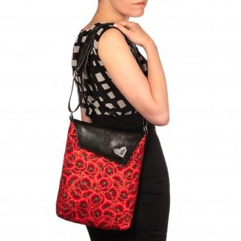 Dámská kabelka Dafné černá - Zlatočervené vlčí máky