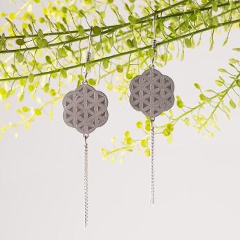 Visací ocelové náušnice Květ života Disk
