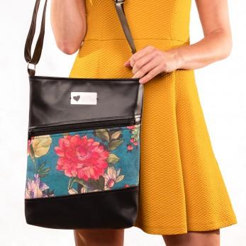 Dámská kabelka Harmonia černá - Malované květy