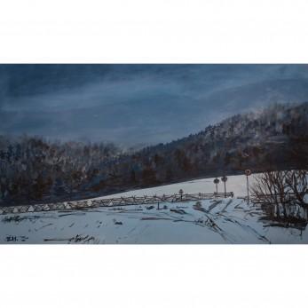 Obraz - Zimní soumrak v Mořkově
