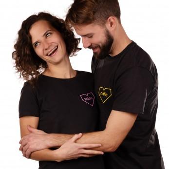 Pánské a dámské tričko černé - Kráska a zvíře