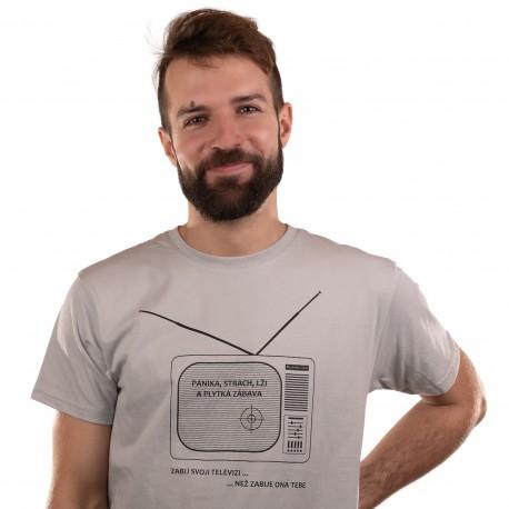 Pánské tričko šedé - Zabij televizi