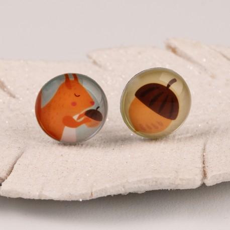 Malé náušnice pecky - Lentilky - červené