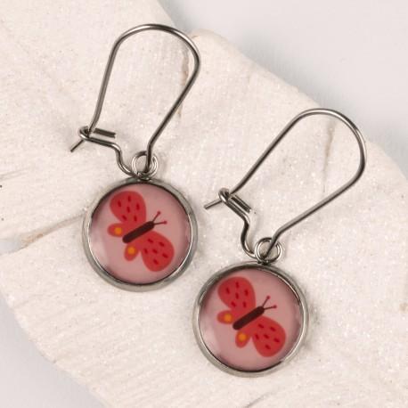 Závěsné náušnice - Růžovomodrý diamant