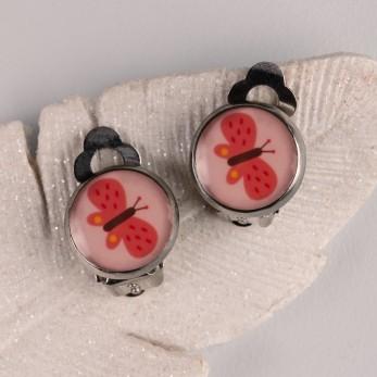 Náušnice klipsy - Růžový motýlek