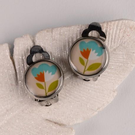 Náušnice klipsy - Oranžovomodrá květinka