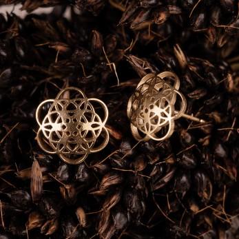 Ocelové náušnice pecky vypouklé - Květ života - Gold
