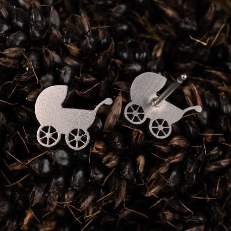 Ocelové náušnice pecky Kočárky