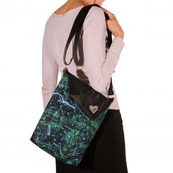 Dámská kabelka Dafné černá - Zelenomodré křivky