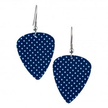 Visací náušnice trsátka Pickies - modré - S puntíkem