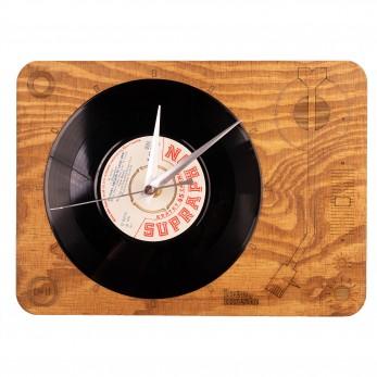 Dřevěné hodiny - Gramofon