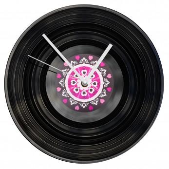 Gramofonové hodiny - Mandala růžovočerná