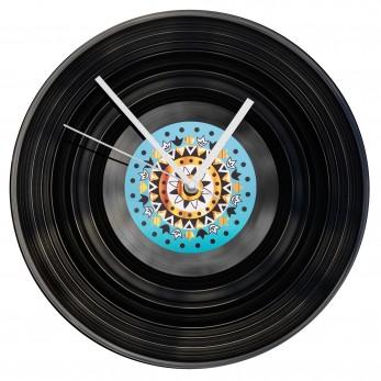 Gramofonové hodiny - Mandala hnědotyrkysová