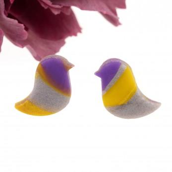 Náušnice pecky Ptáčci - žlutofialoví