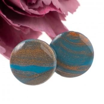 Náušnice pecky 10 mm - Cosmos bronzovotyrkysový