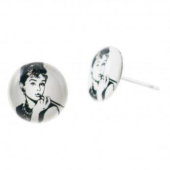 Malé náušnice pecky Epoxy - bílé - Audrey Hepburn