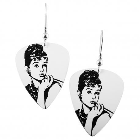 Visací náušnice trsátka Pickies - bílé - Audrey Hepburn