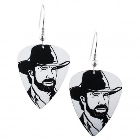 Visací náušnice trsátka Pickies - bílé - Chuck Norris