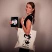 Béžová plátěná taška s potiskem - Gramofon