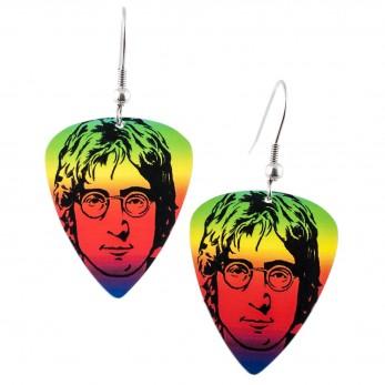 Visací náušnice trsátka Pickies - duhové - John Lennon