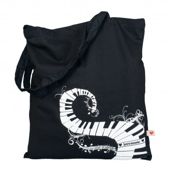 Černá plátěná taška s potiskem - Klaviatura