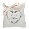 Béžová plátěná taška s potiskem - I love it raw
