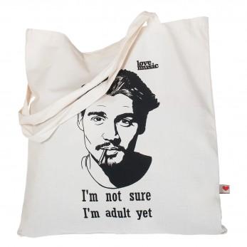 Béžová plátěná taška s potiskem - Johnny Depp