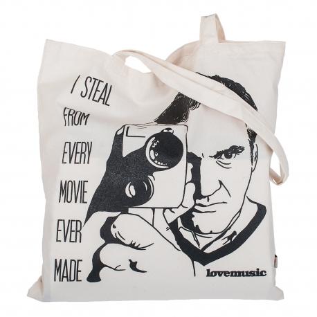 Béžová plátěná taška s potiskem - Quentin Tarantino
