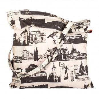 Béžová plátěná taška s potiskem - Brno City