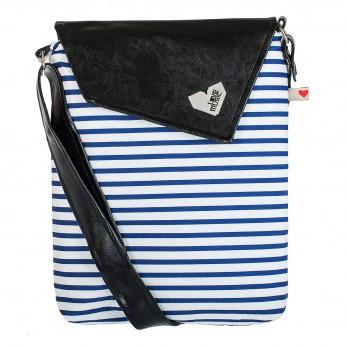 Dámská kabelka Dafné - Černá - Modré proužky