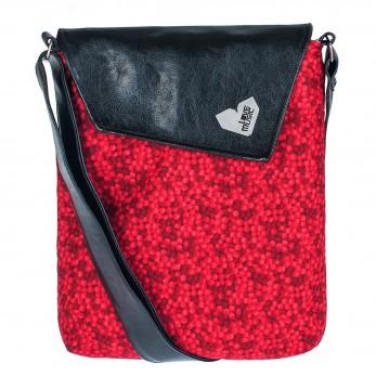 Crossbody kabelka s červenými bublinami sluší modelce a bude slušet i tobě! Originál od Lovemusic.