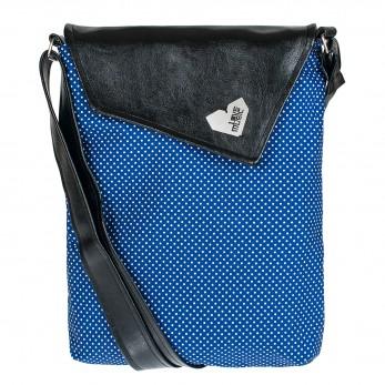 Crossbody kabelka s modrým puntíčkem sluší modelce a bude slušet i tobě! Originál od Lovemusic.