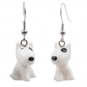 Visací náušnice 3D zvířátka - Bulteriér bílý