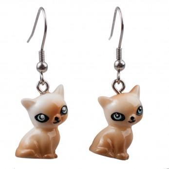 Visací náušnice 3D zvířátka - Kočky světlé