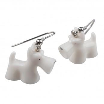 Visací náušnice 3D zvířátka - Bílý knírač