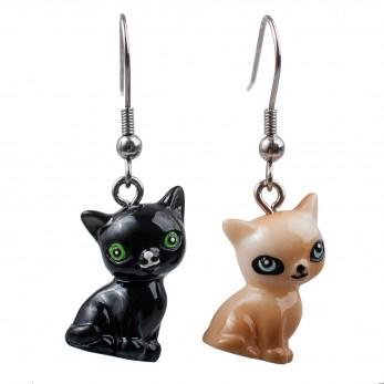 Visací náušnice 3D zvířátka - Kočky mix