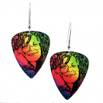 Visací náušnice trsátka Pickies - duhové - Janis Joplin