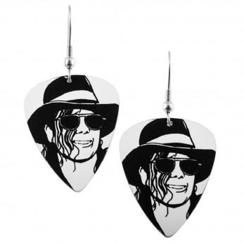 Visací náušnice trsátka Pickies - bílé - Michael Jackson