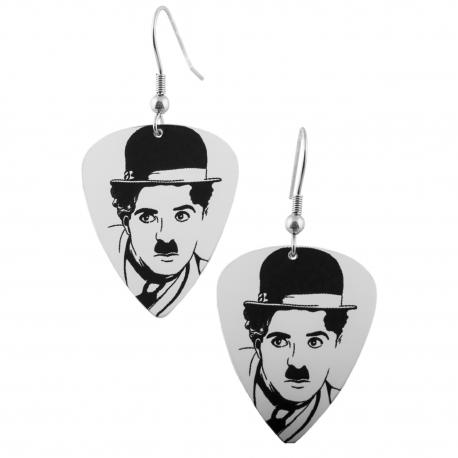 Visací náušnice trsátka Pickies - bílé - Charlie Chaplin