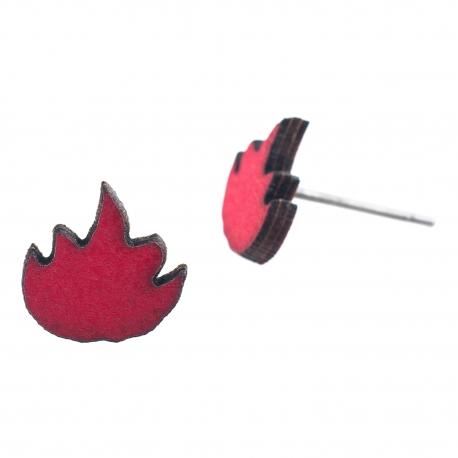 Dřevěné náušnice Pecki - Oheň