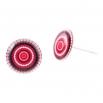 Malé náušnice pecky Epoxy - červenobílé - Vertigo