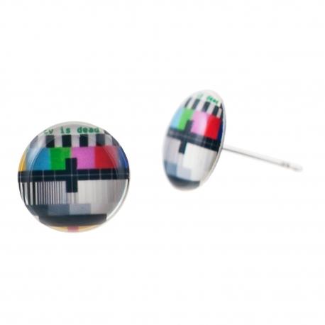 Malé náušnice pecky Epoxy - barevné - TV is dead