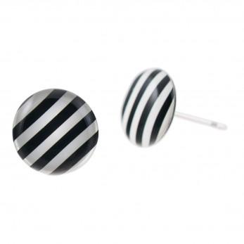 Malé náušnice pecky Epoxy - černobílé - S proužky
