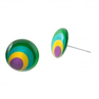 Malé náušnice pecky Epoxy - žlutozelené - Circles